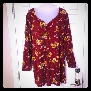 {Wild Fable} Autumn floral scarlet mini dress
